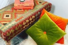 colourful handmade footstool table