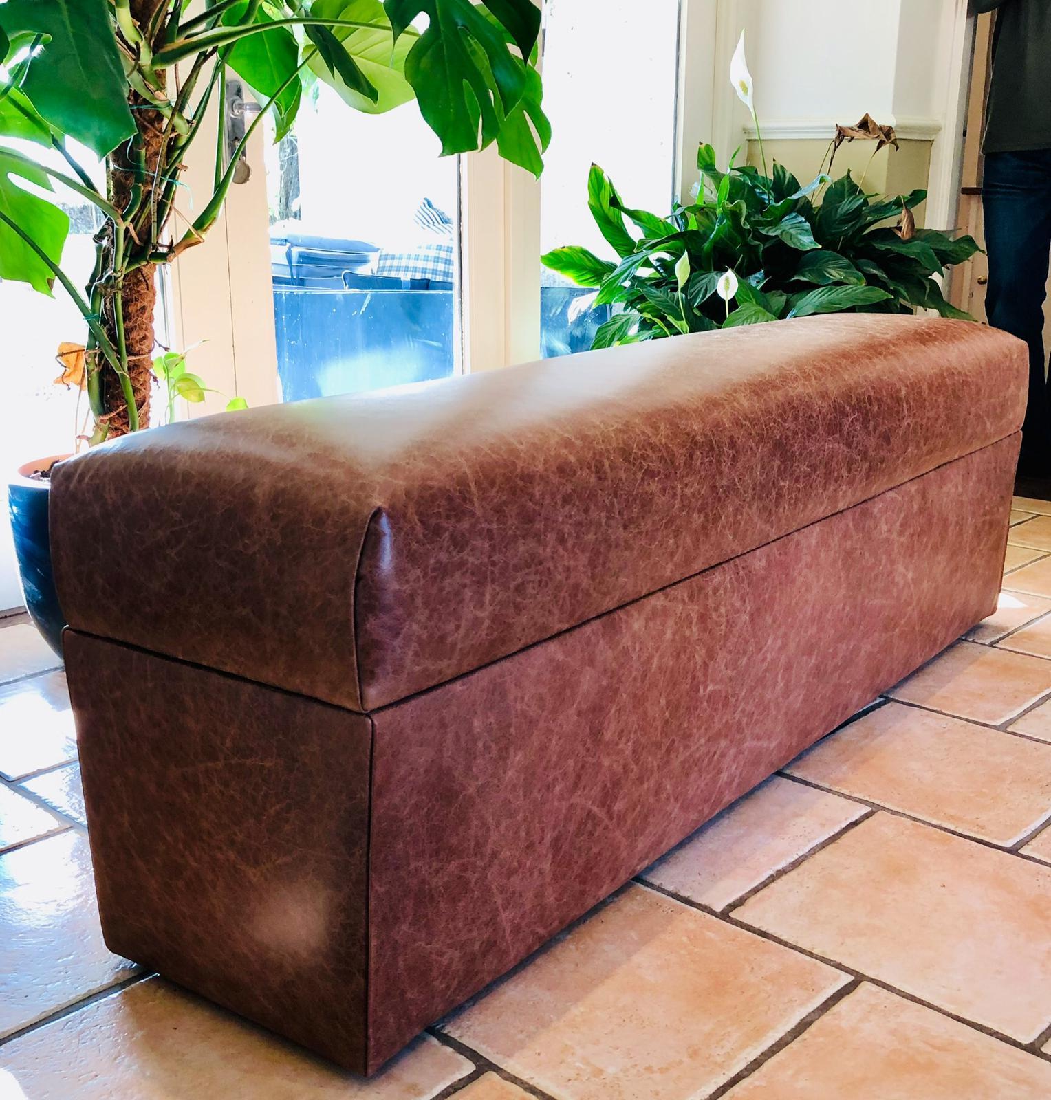bespoke long leather ottoman