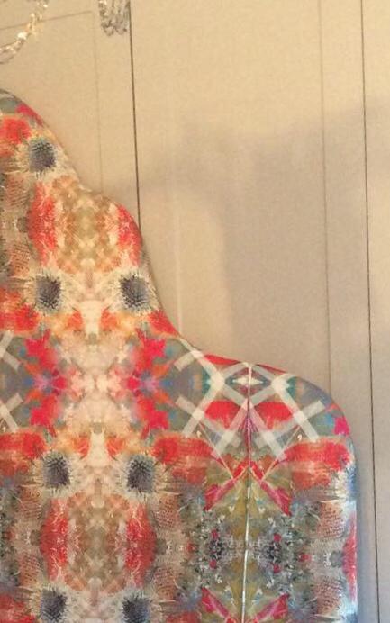 custom made colourful fabric headboard