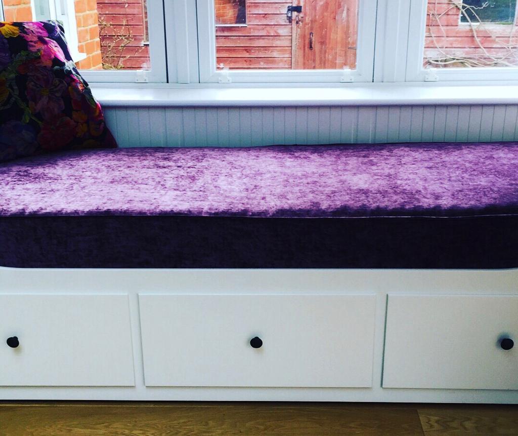 handmade purple velvet window seat