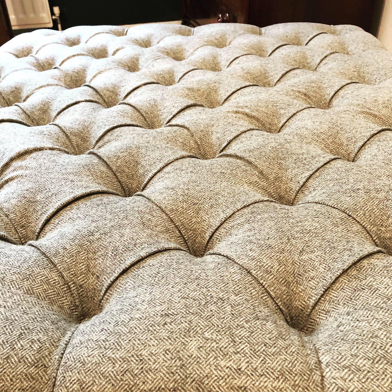 padded fabric ottoman footstool