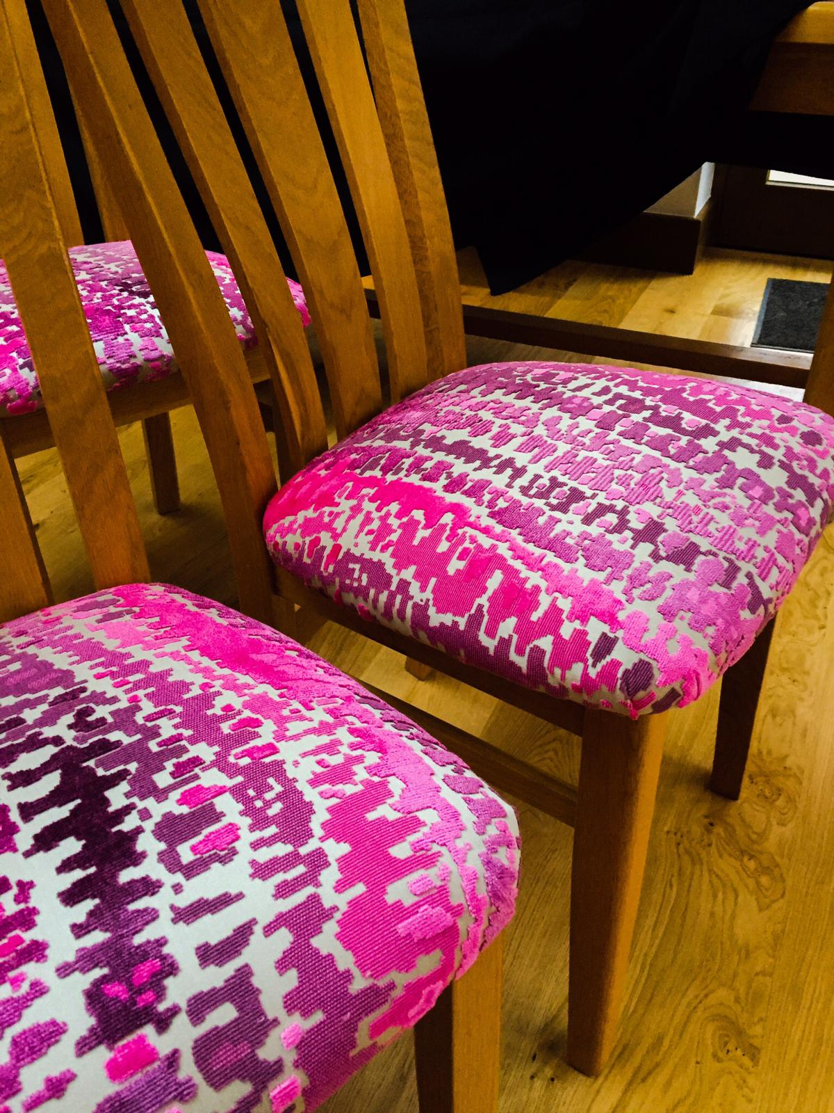 pink fabric dining chair upholstery