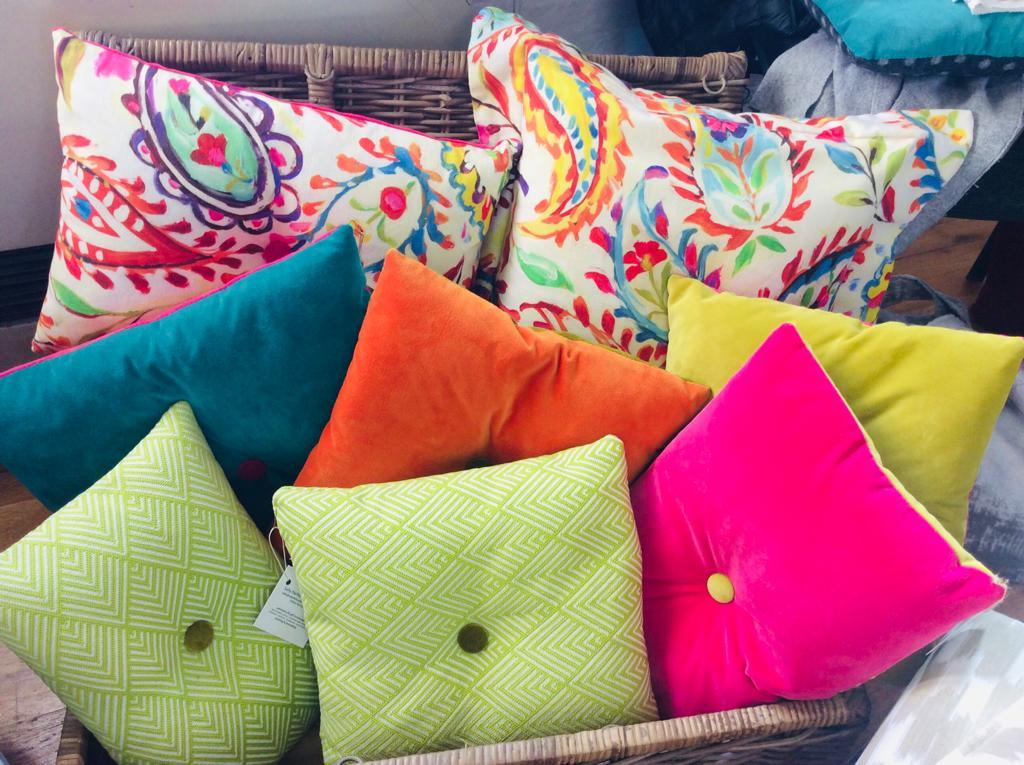 pink orange blue green yellow handmade cushion