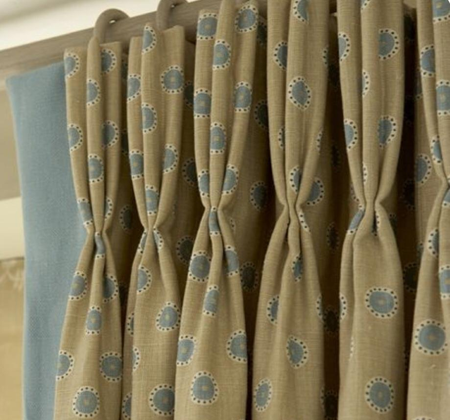yellow blue fitted bespoke curtains